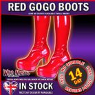 RED # 60s 70s GOGO PLATFORM FANCY DRESS BOOTS SIZE 4